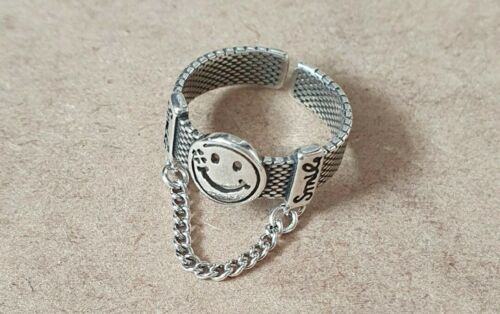 925 Stirling Silver Smiley Face Chain Ring 90s Adjustable