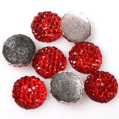 Lots of 200pcs Charms Red Rhinestones Stick-On Flatback Decoration Supplies JJ