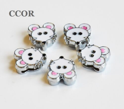 8 mm émail mices Head Slide Charms Beads Fit 8 mm Ceintures Bracelets Chien Pet Colliers