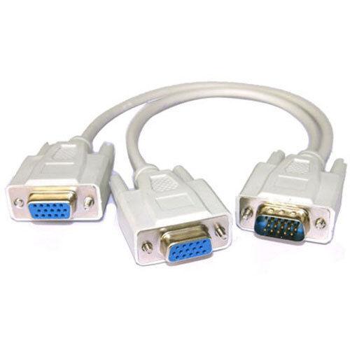 1 Male to 2 Female VGA Monitor Y Splitter Cable New Premium VGA Splitter Cable