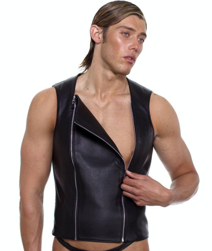 682 Gr.s Reduzierte Lederweste Leder Weste,biker Leather Waistcoat Vest,weste