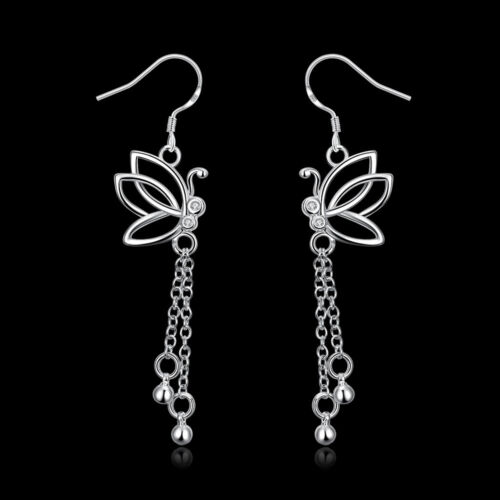 Classique Européenne Argent Sterling 925 Fleur Papillon Lady Drop Dangle Earrings