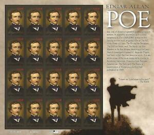 Edgar-Allan-Poe-42-Cent-USPS-Stamp-Sheet-20-Stamps-42c-USA-2008-The-Raven-Poet