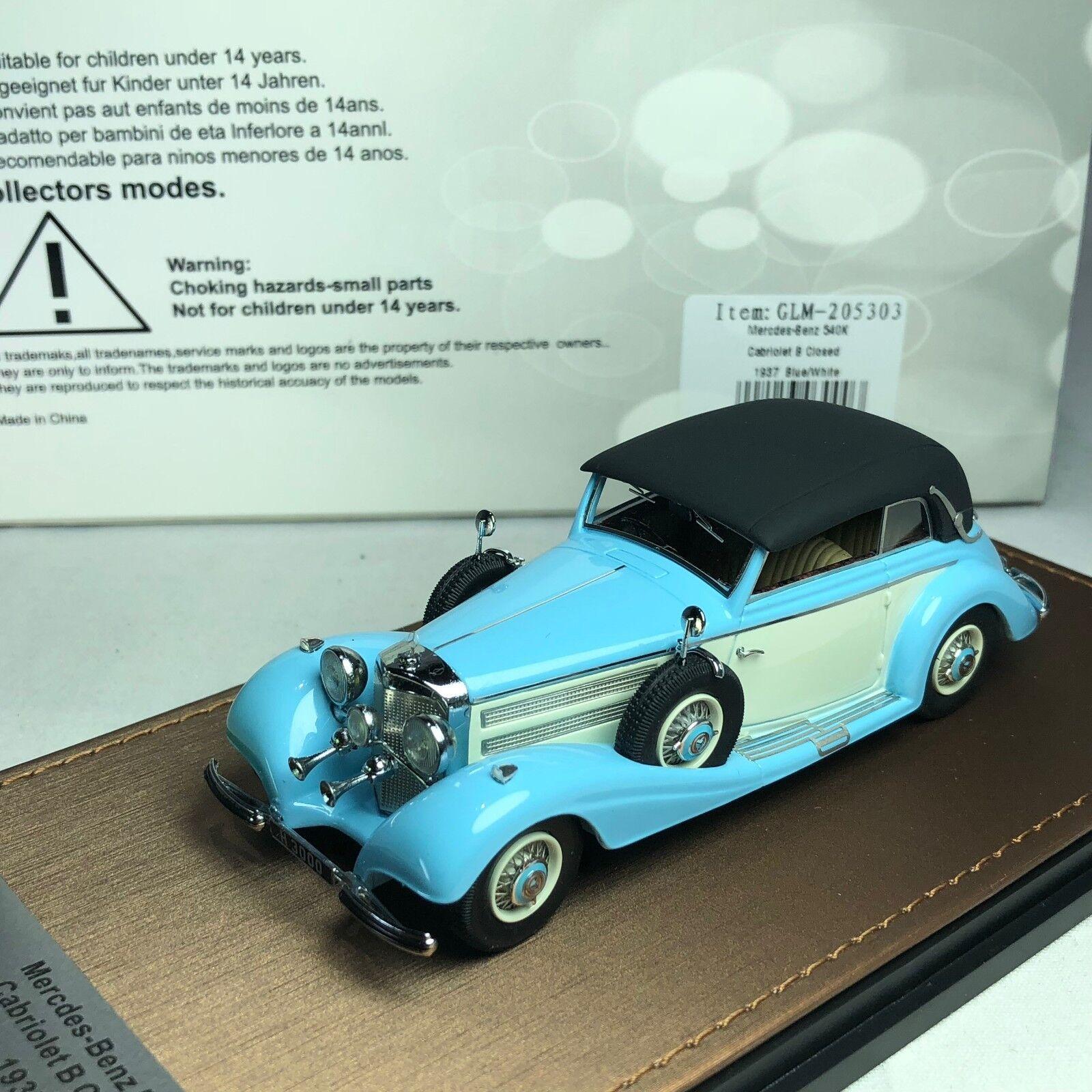 1 43 GLM Mercedes-Benz 540K Cabrio B Cerrado 1937 blu Nudos GLM205303