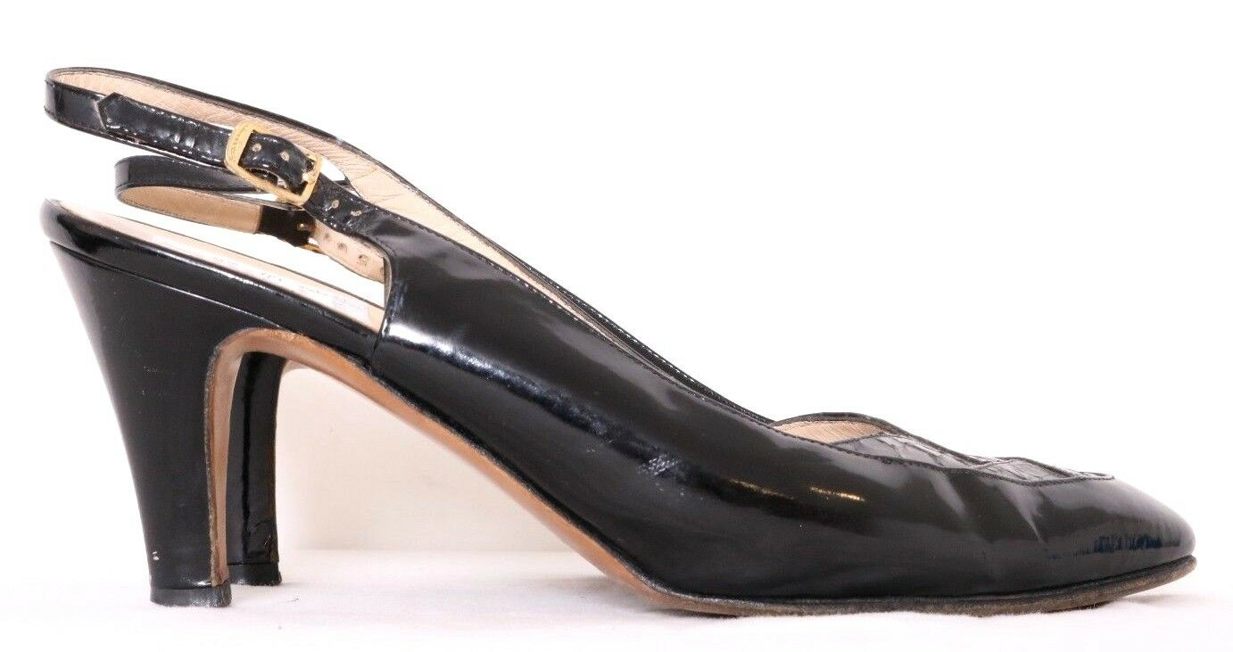 Salvatore Ferragamo Blk Patent Leather Snake Snake Snake Inlay Slngback Pump damen US 6.5AA 83a908