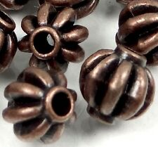 25 Antique Copper Pewter Melon Spacer 7mm Beads ~ Lead-Free ~