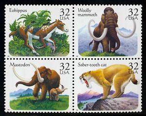 #3080a 32c Prehistorico Animales, Se-Tenant Bloque, Nuevo Cualquier 5=