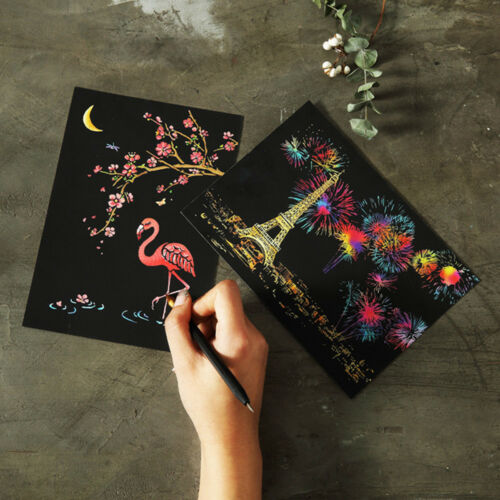 4Pcs Magic Scratch Education Painting Paper Doll With Drawing Stick Toy Gift CO