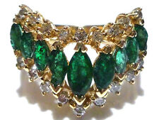 WOMENS EFFY BH 14K YELLOW GOLD EMERALD & DIAMOND COCKTAIL RING BAND SIZE 6.5