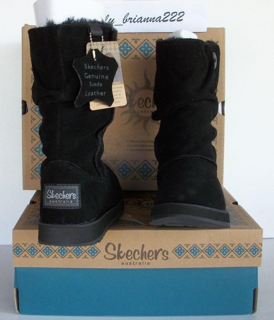SKECHERS AUSTRALIA Damens BLACK Suede Button Mid Calf Faux Fur Boot Schuhe 6 M 80