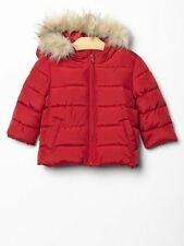 Baby GAP Girls Boys Red Faux Fur Trim Puffer Winter Jacket Coat 12 18 mo NWT $68