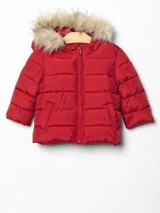 bf63f26ef274 Baby GAP Girls Boys Red Faux Fur Trim Puffer Winter Jacket Coat 12 ...