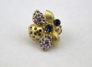 CHICO-039-S-Gold-Tone-Purple-Lavender-Rhinestone-Crystal-Flower-Adjustable-Ring-6