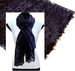 Navy Blue Large Scarf Lace Wedding Shawl Floral Wrap Cotton Plain Pashmina Hijab Ebay