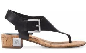 1ec27fc8d702 New Michael Kors London Thong Sandals leather T Strap black silver ...