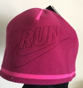 Nike Run Ladies Running Hat Reversible Pink Stay Warm Technology New ... 5916e59f5d9
