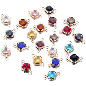 Faceted-Crystal-Glass-Beads-Connector-Charm-DIY-Bracelet-Earrings-Jewelry-Making