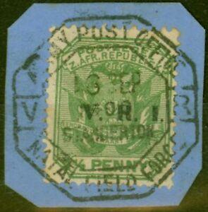 Transvaal-1900-1-2d-Vert-SG226-Tres-Bien-Utilise-Armee-Bureau-de-Poste-Type-Z2