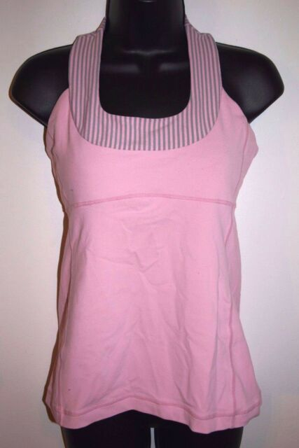 Lululemon Size 8 Womens Pink Racerback Athletic Top with Stripe Accents