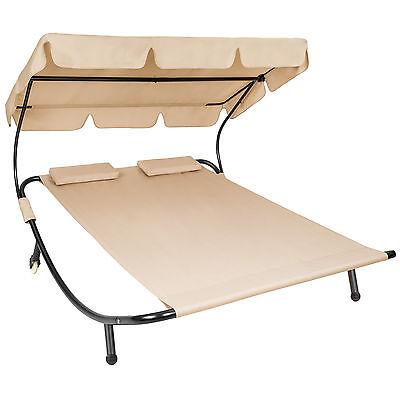 Tumbona de jardín con parasol y 2 cojines chaise longue dobles 2 plazas beige NU