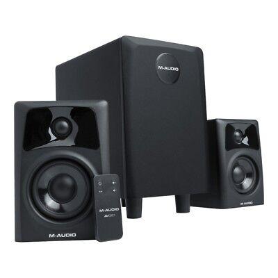 m audio studiophile av32 1 audio system 2 1 aktiv paar monitor und subwoofer ebay. Black Bedroom Furniture Sets. Home Design Ideas