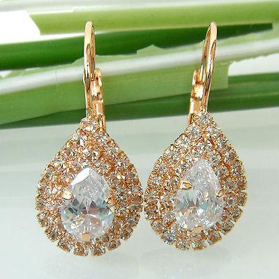 Navachi Zircon Water Drop 18K GP Crystal Leverback Earrings BH2614