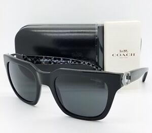 1520606367 New Coach sunglasses HC8240 551087 52 Black Grey Cateye Butterfly ...