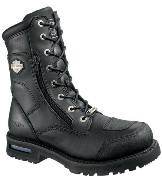 Harley-Davidson Mens Riddick 8  Lace-Up Black Leather Motorcycle Boots D98308