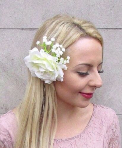 Cream Ivory White Gypsophila Flower Hair Clip Fascinator Wedding Floral 4065