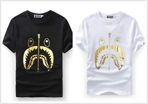 2019 Fashion New A Bathing Ape Gold Shark Mouth Jaw Bape luminous R ... 86714f4f1950