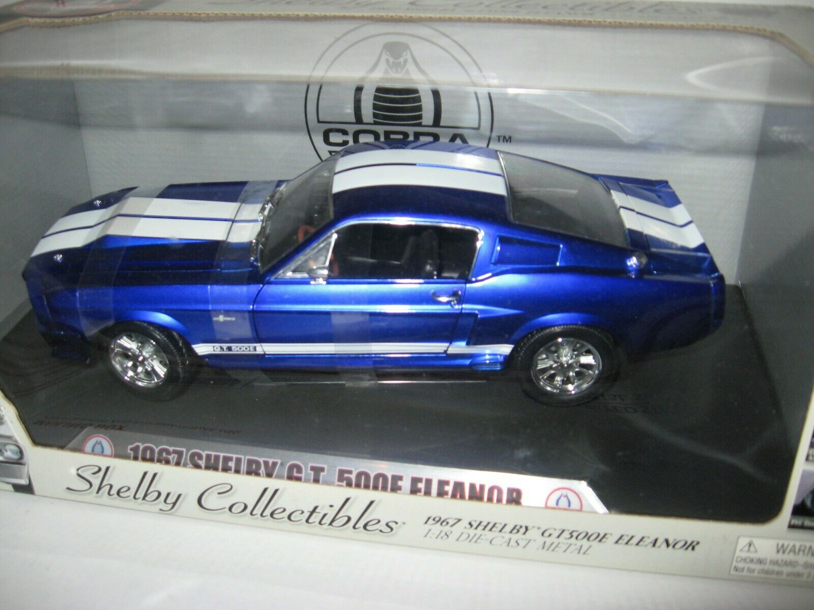 1 18 SHELBY COLLECTIBLES ELEANOR 1967 SHELBY GT 500E ANODIZED LAZER blueE CHASE