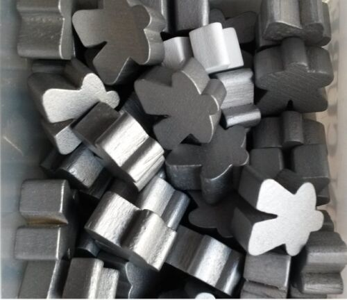 Games Accessories Wooden Meeples 16mm Silver x 10 Meeples