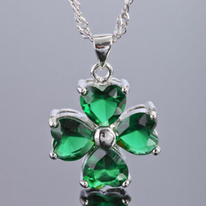 Xmas-Jewelry-Heart-Cut-Green-Emerald-White-Gold-Plated-Gp-Pendant-Necklace