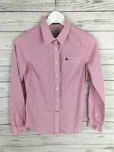 JACK-WILLS-Shirt-UK8-Pink-amp-White-Stripe-Classic-Fit-Great-Condition
