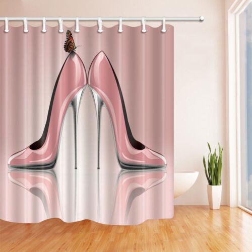 Paris Fashion Pink High Heels Bathroom ShowerCurtain Waterproof Fabric /& Hooks