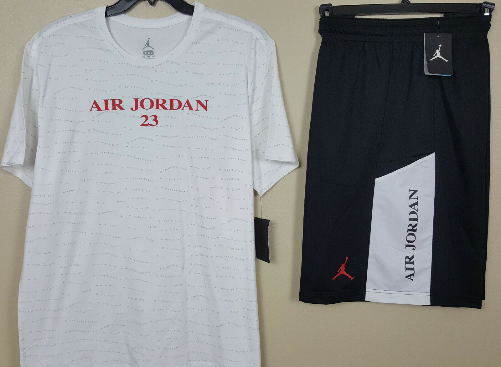 eb6ef8222dd8 Nike Air Jordan Retro 10 Outfit Shirt Shorts White Red Black Size ...