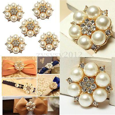 1~50 Pearl Rhinestone Brooch Wedding Dress DIY Flatback Buttons Embellishment