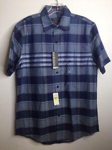 eb25589668d VAN HEUSEN Blue Plaid Classic Fit Wrinkle Free Short Sleeve Shirt ...