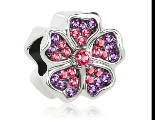 Charm Flower Bead Charm Pink Crystal Bouquet  Mother/'s day Charm Bracelet 134