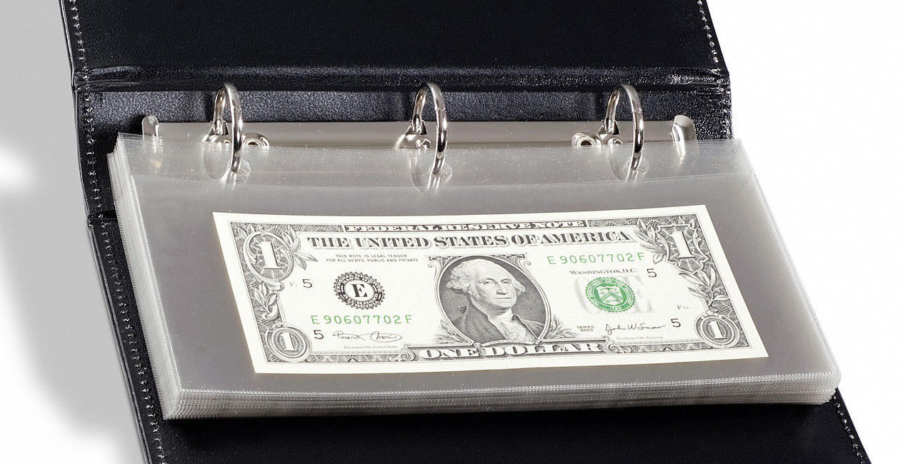 20 Binder Page Modern Banknote Sleeve Lighthouse LEATHER Currency Holder Album