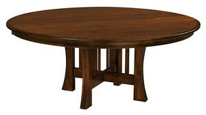 Admirable Details About Amish Round Dining Table Arts Crafts Mission Base Solid Wood Leaf 54 60 72 Beutiful Home Inspiration Xortanetmahrainfo
