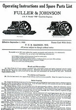 Fuller Amp Johnson Fj Gas Engine Motor Type Nb Manual Book Hit Miss 2hp Parts List
