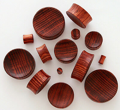 PAIR Concave Red Tiger Wood Plugs Gauges - select size from 8g up to 30mm