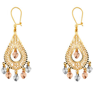 Real-14K-Yellow-White-Rose-Gold-Heart-Earrings-Pear-Ladies-Chandelier-Hanging