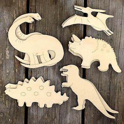 10x Wooden Dinosaur Mix Set Comic Style Craft Shapes 3mm Plywood