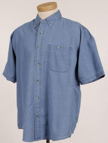 poche manches courtes bascule Men/'s délavé Denim Shirt S-6XL grand LT-6XLT
