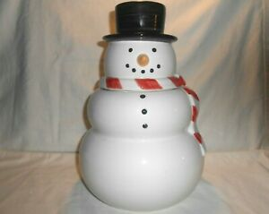 Williams-Sonoma-Christmas-Holiday-Snowman-Cookie-Jar-12-Tall-Mint-in-Box-w2s6