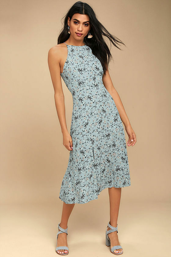 New ASTR The Label Floral Midi Dress Women's Sleeveless bluee Size L