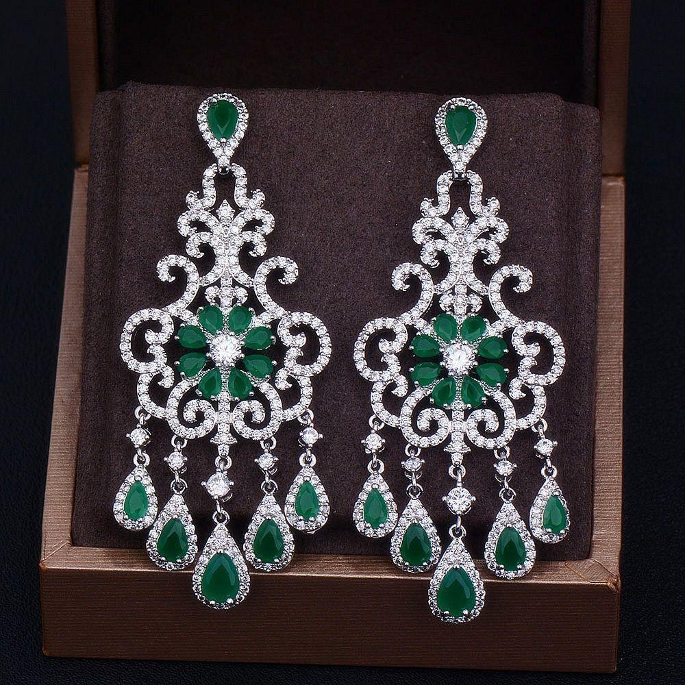 Women's Chandelier Flower Earring Luxury Cubic Zirconia Engagement Jewelry