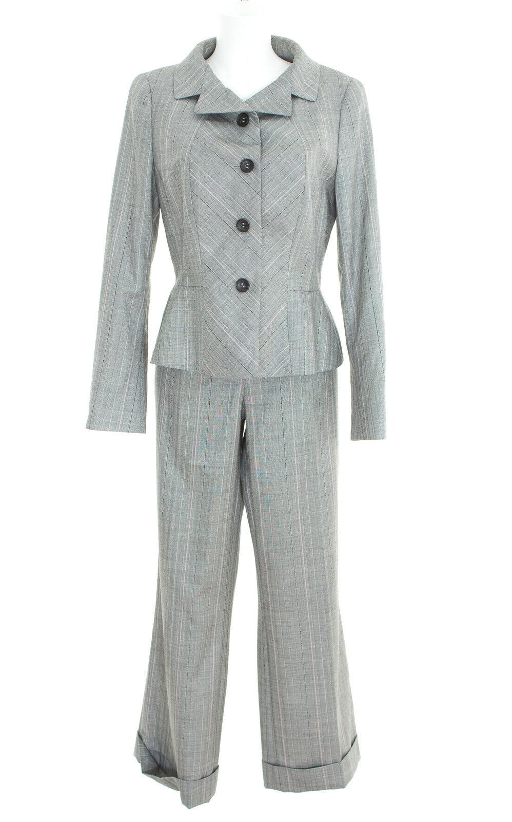 Escada Pantaloni Vestito Blazer Tg. 40 Pantaloni Pantaloni Pantaloni Tg. 38 Da Donna Suit Multicolore lana Seta 077965